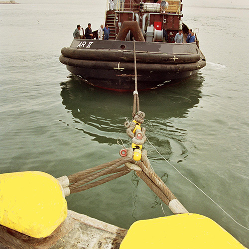 A tug is moored to bollard for force test