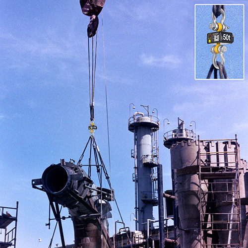 A large assembly is lowered into place at a refinery